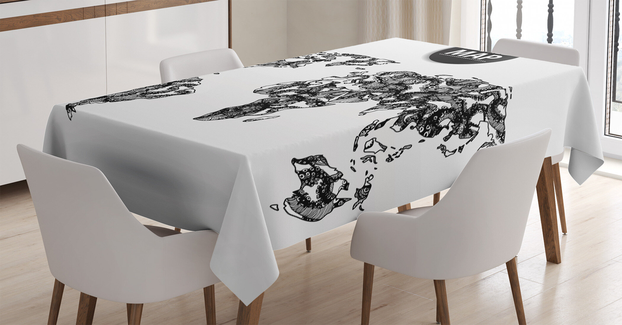 Picture of: East Urban Home Ambesonne Wanderlust Tablecloth Modern Elements Of Infographics Octopus Animal And The World Map Communication Rectangular Table Cover For Dining Room Kitchen Decor 52 X 70 Black White