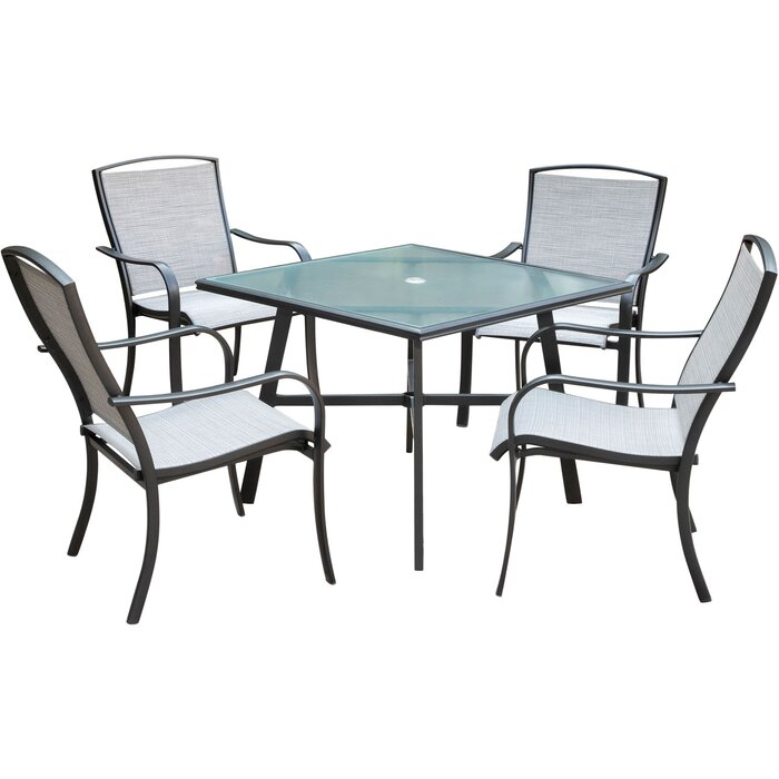 Wrenn 5 Piece Commercial Grade Patio Dining Set With 4 Sling Dining Chairs And A 38 Square Glass Top Table