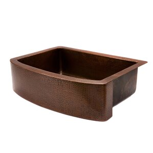 Premier Copper Products Single Rounded Farmhouse Kitchen Sink