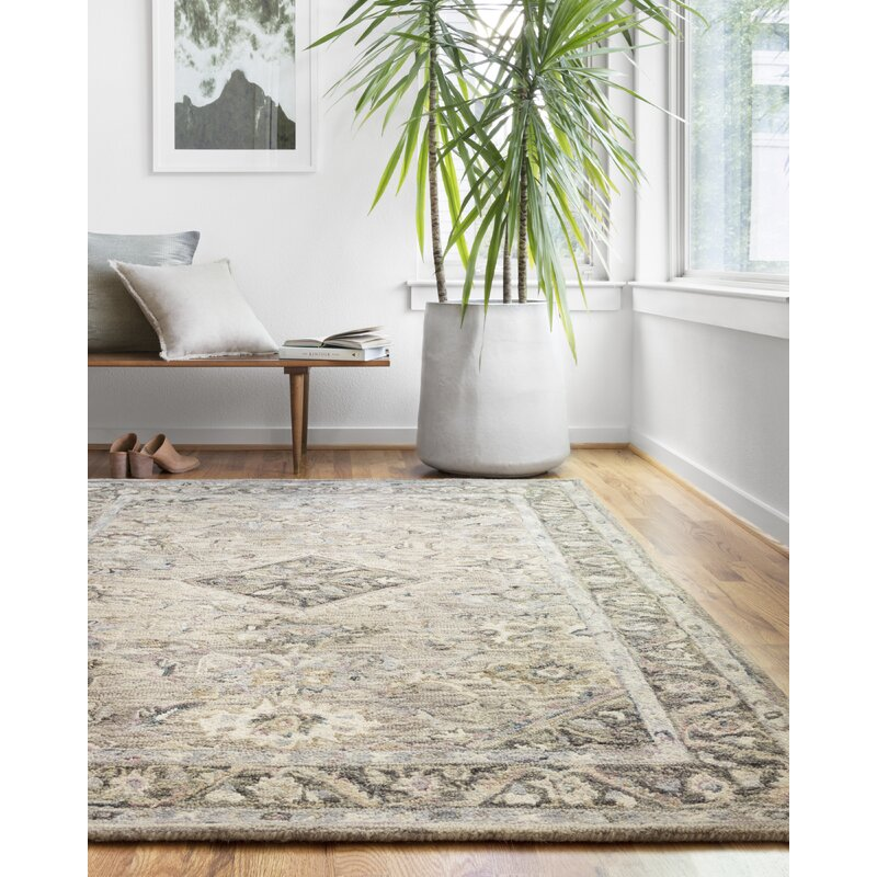 World Menagerie Carwell Hand Hooked Wool Gray Ivory Dark Green Area Rug Reviews Wayfair