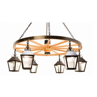 2nd Ave Design Silverton 6-Light Shaded Chandelier Finish: Tuscan Ivory, Acrylic: Lapis Blue