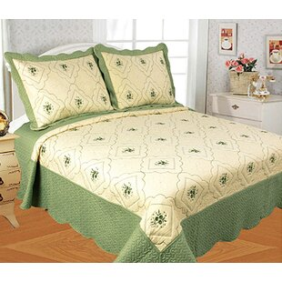 Bodily Embroidered 3 Piece Quilt Set