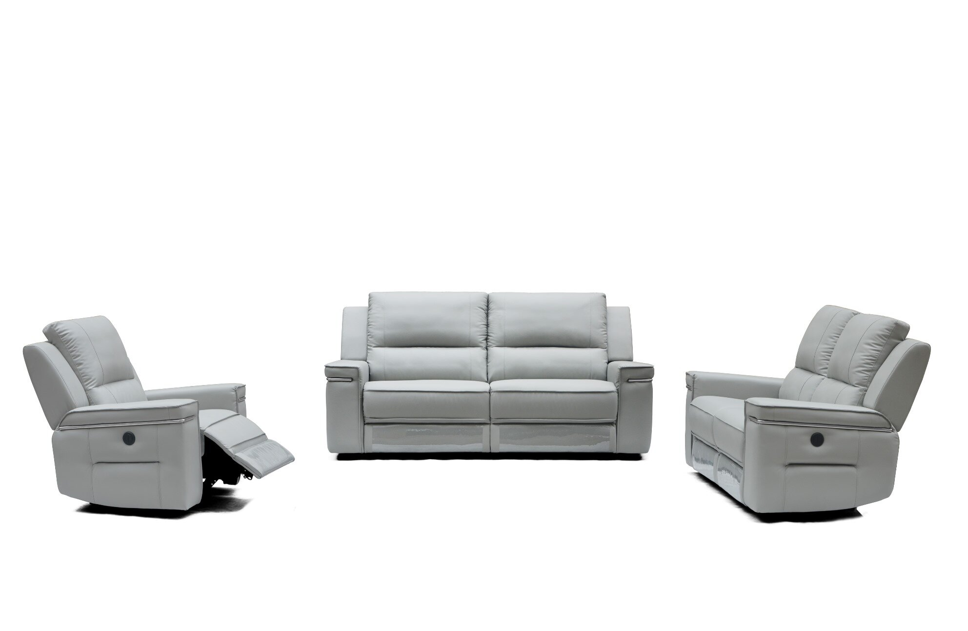 Orren Ellis Colmar Leather 3 Piece Living Room Set | Wayfair