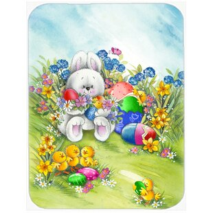 Easter Bunny and Eggs Glass Cutting Board
