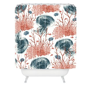 Belle13 Coral And Jellyfish Single Shower Curtain