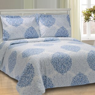 Benito Damask 100% Egyptian-Quality Cotton Duvet Cover Set