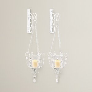 Iron and Glass Sconce Set (Set of 2)
