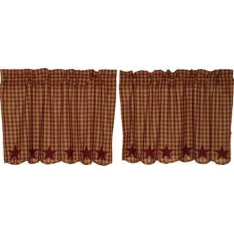 August Grove Zenaide Plaid Cotton Scalloped 72 Cafe Curtain Reviews Wayfair