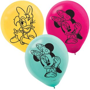 6 Piece Minnie Mouse Helpers Latex Disposable Balloons Set