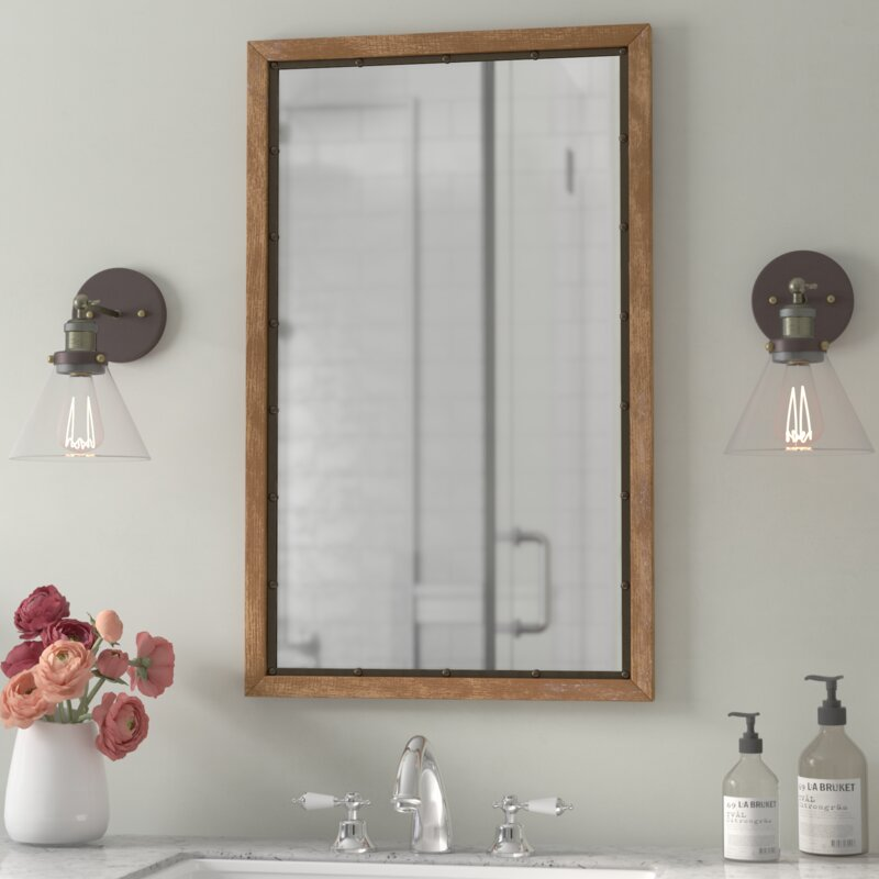 rustic wall mirrors farmhouse verduzco rustic wood wall mirror gracie oaks reviews wayfair