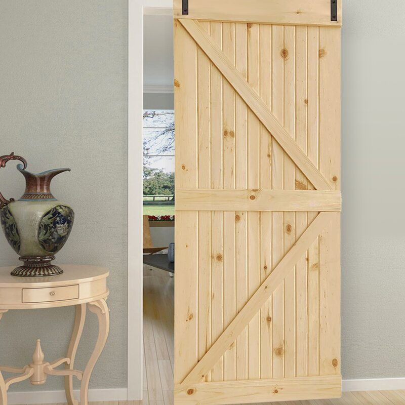 Kiby Flush Solid And Manufactured Wood Unfinished K Bar Solid Core Pine Interior Barn Door Reviews Wayfair