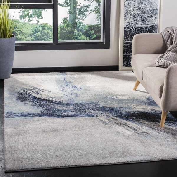 17 Stories Elara Abstract Blue Gray Area Rug Reviews Wayfair