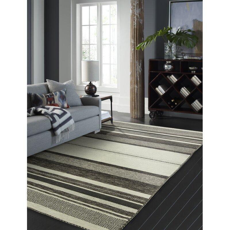 Union Rustic Phillipston Striped Handmade Loomed Cotton Gray Brown Area Rug Reviews Wayfair