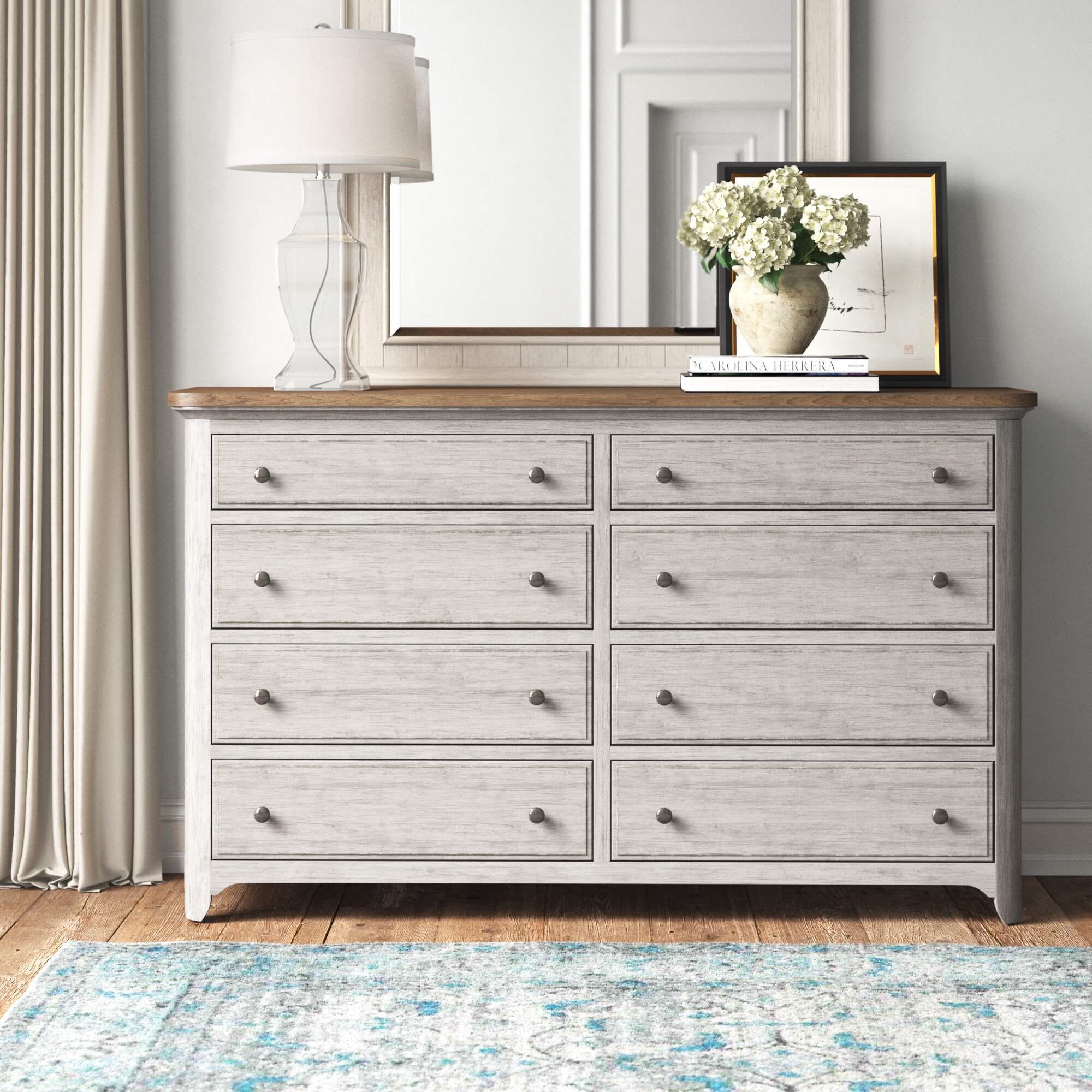 Feminine French Country Rhapsody 8 Drawer Double Dresser Reviews Wayfair