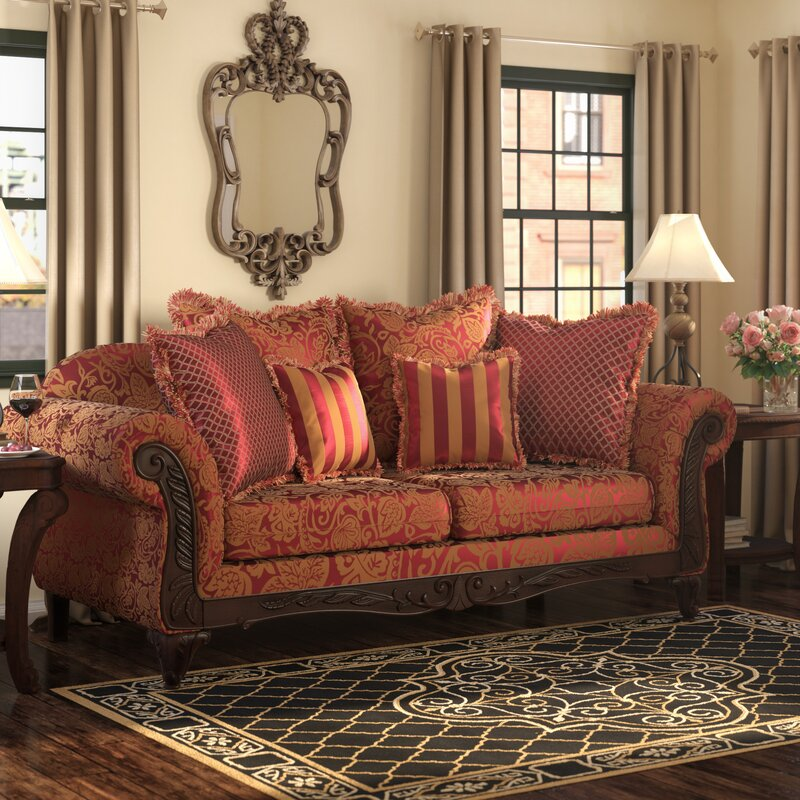 Fleur De Lis Living Powersville 93 Flared Arm Sofa With Reversible Cushions Reviews Wayfair