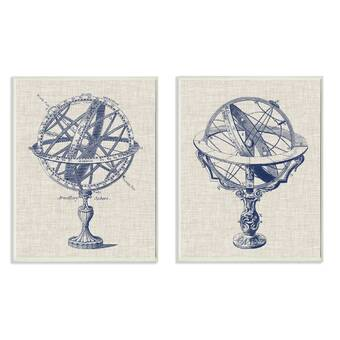 Williston Forge Large Vintage Style Planetary System Diagram And Armillary Illustration Textile Picture Frame Painting Print On Fabric Wayfair