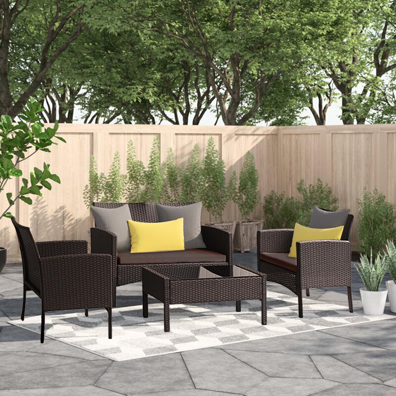 Latitude Run Alirah 4 Piece Rattan Sofa Seating Group With Cushions Wayfair