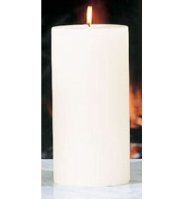 Beachcrest Home Unscented Ivory Pillar Candle Size: 4 x 8