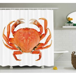Buckmaster Crabs Sea Animals Theme a Cooked Dungeness Crab With National Marks Digital Image Single Shower Curtain