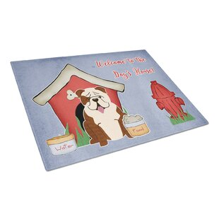 Best Price Dog House Glass English Bulldog Cutting Board By Caroline's Treasures