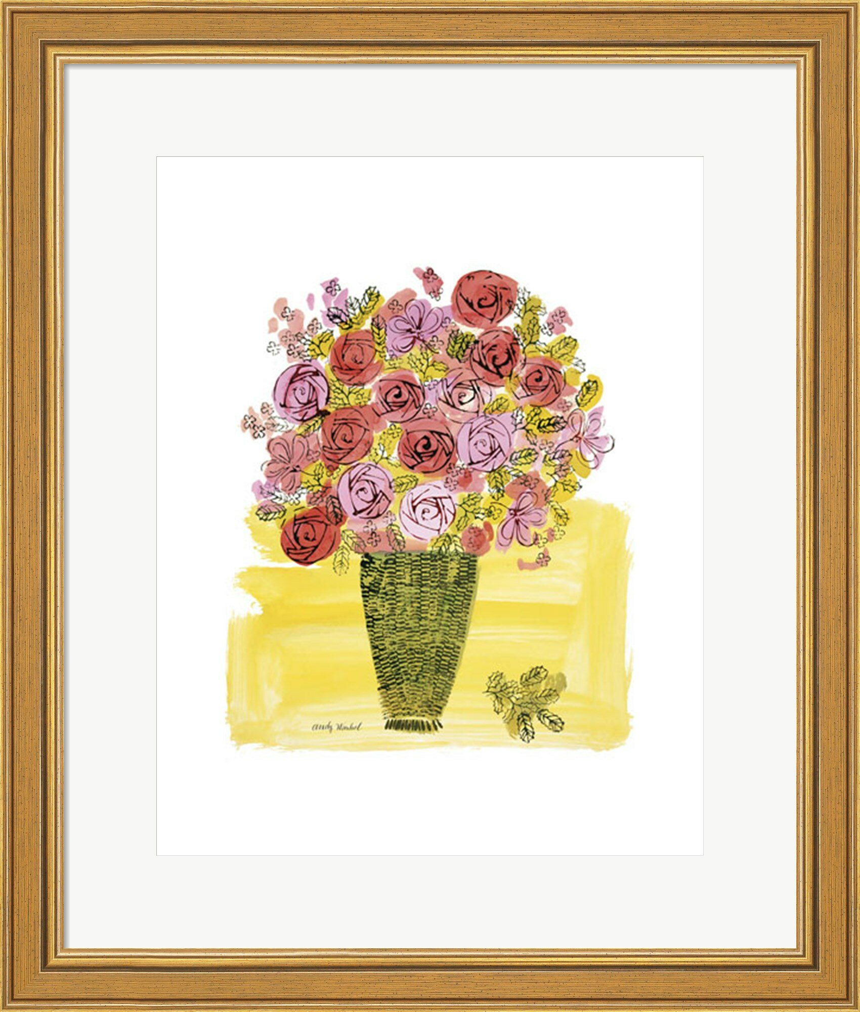 Basket of Flowers, 1958\' by Andy Warhol Framed Graphic Art Print ...