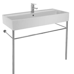 Compare Teorema Ceramic 39 Console Bathroom Sink with Overflow By Scarabeo by Nameeks