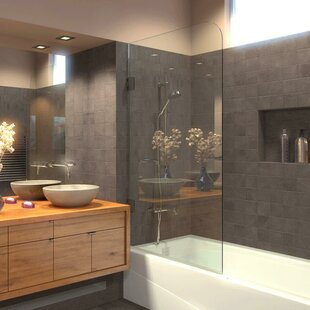 33.5 x 64 Hinged Frameless Tub Door By Ark Showers