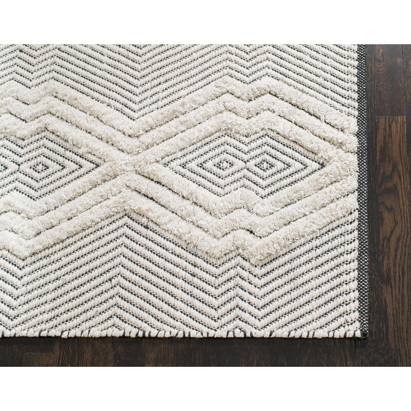 Tufted Tribal Hand Woven Black White Area Rug