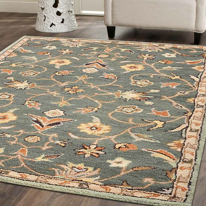 Beaconcrest Vintage Hand Tufted Wool Green Area Rug