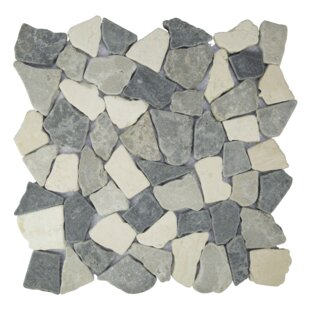 Fit Random Sized Natural Stone Pebble Tile in Sterling/Gray