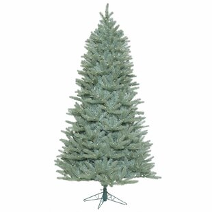 slim 75 blue spruce artificial christmas tree with 800 warm white led lights - Blue Spruce Artificial Christmas Tree