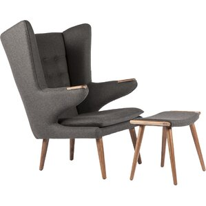 The Olsen Wingback Chair and Ottoman by Stilnovo