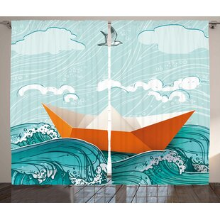Waves Décor Graphic Print Room Darkening Rod Pocket Curtain Panels (Set Of  2)