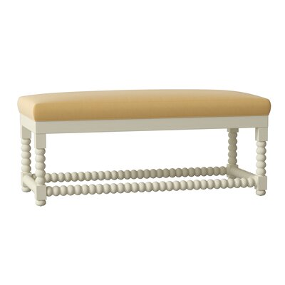 Lyerly Wood Bench Birch Lane Heritage Body Fabric: Tibby Linen, Leg Color: White