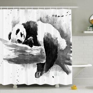 Sleeping Panda Shower Curtain Set by Ambesonne