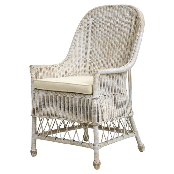 French Country Decor Alert! A beautiful rattan armchair with a lovely light grey finish.