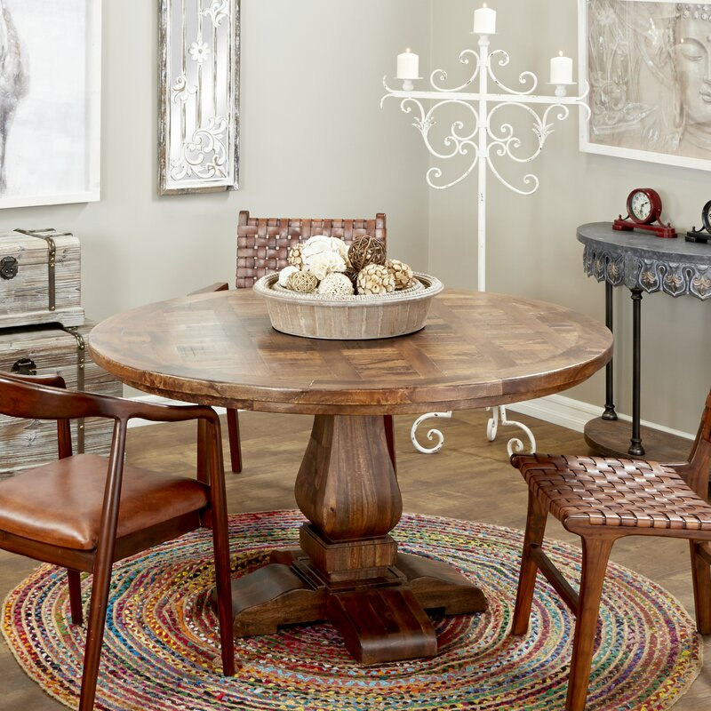 Large Parquet Solid Wood Dining Table