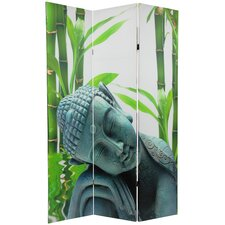 71.25 x 47.25 Double Sided Serenity Buddha 3 Panel Room Divider by Oriental Furniture