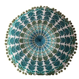 Ketner & Chambray with Pom Poms Throw Pillow