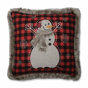 Fur Snowman Throw Pillow