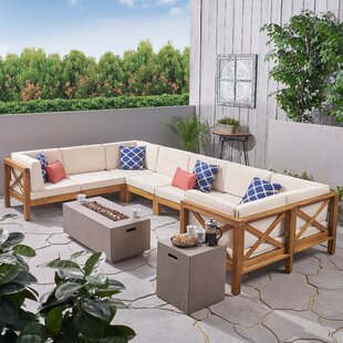 Abbie 8 Piece Teak Sectional Seating Group with Cushions