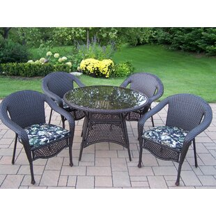 Oakland Living Elite Resin Wicker 5 Piece Dining Set with Cushions