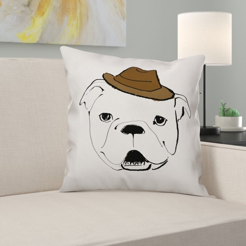 East Urban Home Dog With Hat Throw Pillow In Cover Only Wayfair