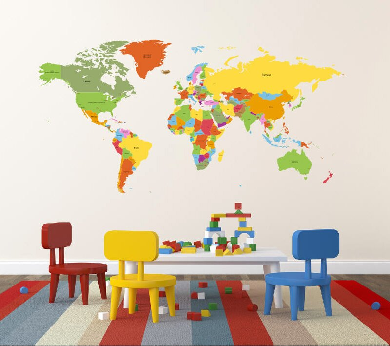 pop decors educational world map for kids room wall decal | wayfair.ca
