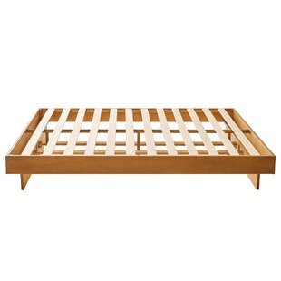 Platform Style Twin King Wooden Bed With Panel Support Brown by Benjara