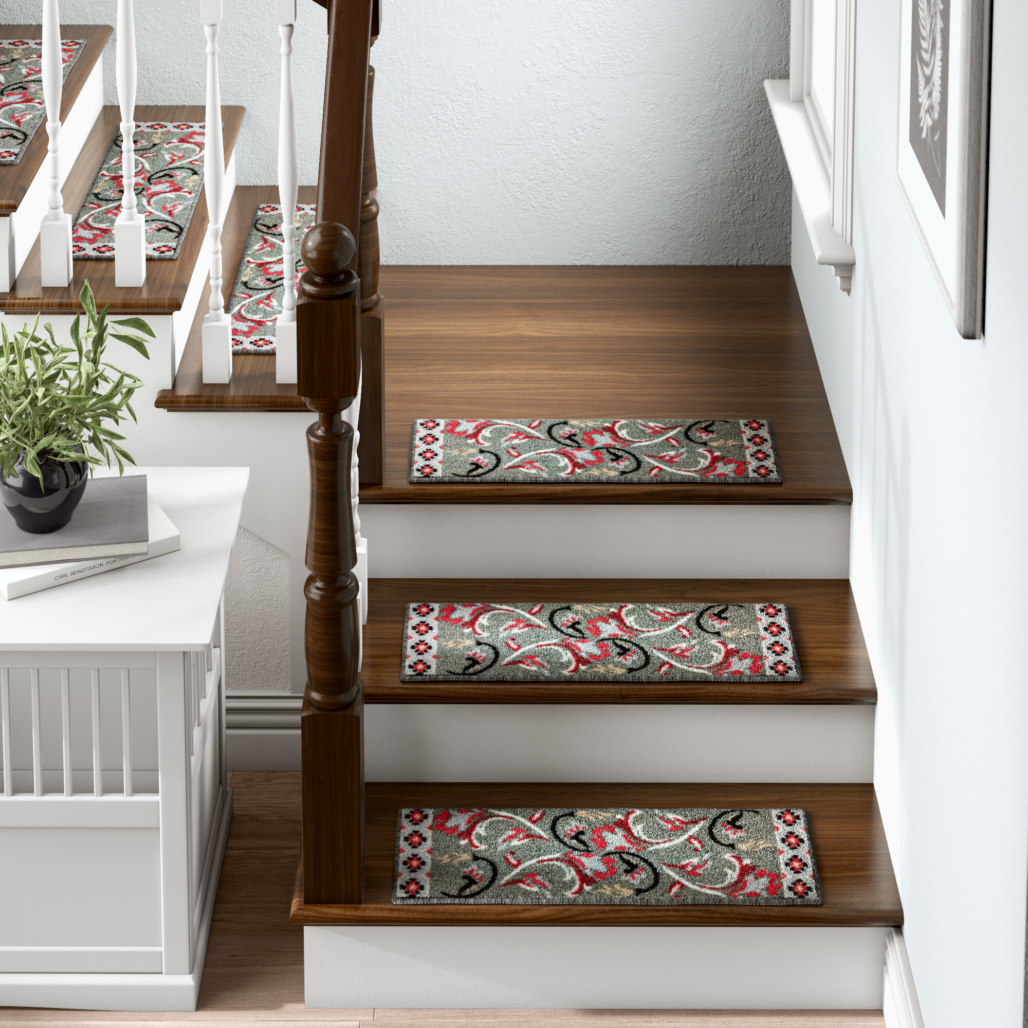 Tucker Murphy Pet Baynes Modern Design Non Slip Rubber Backed Gray Stair Tread Reviews Wayfair