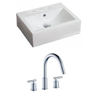 Read Reviews Ceramic 21 Wall Mount Bathroom Sink with Faucet and Overflow ByAmerican Imaginations