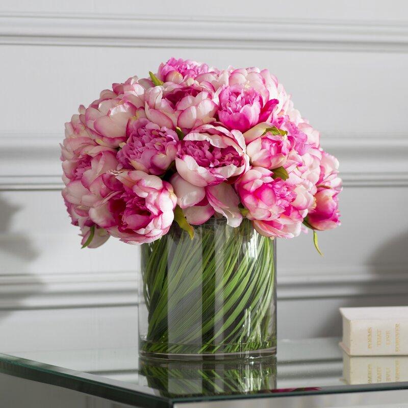 Faux Magenta Pink Peony Fl Arrangement In Gl Vase