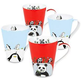 Penguin And Panda 4 Piece Coffee Mug Set