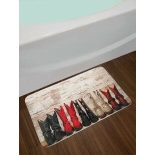 Western American Legend Cowgirl Leather Boots Wild West Theme Cultural Print Non-Slip Plush Bath Rug
